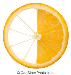 Slice of orange isolated on white