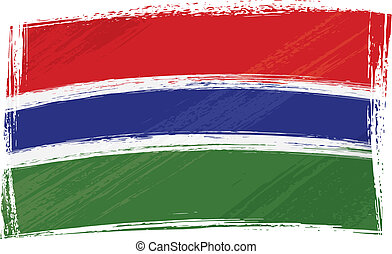 Grunge Gambia flag - Gambia national flag created in grunge...