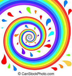 Colorful rainbow spiral with splashes background.