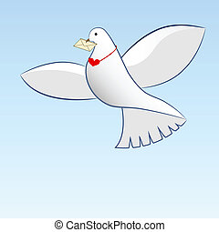 Drawing of dove carrying love message.