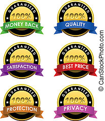 100% guaranteed labels set isolated on white.