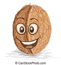 happy walnut cartoon character smiling
