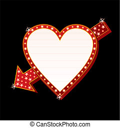 Neon heart - Neon sign with heart and arrow shape