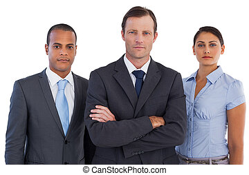 Group of business people standing together on white...