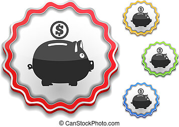 Label with icon of a piggy bank
