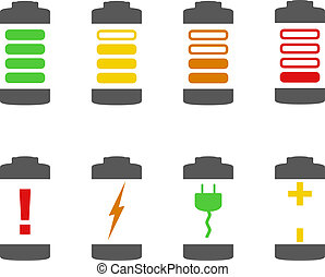 Battery Icons - Battery icons, vector eps10 illustration