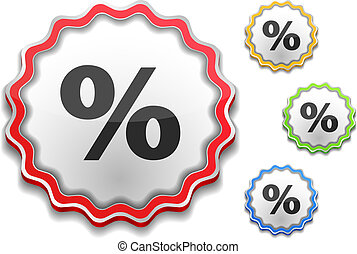 Label with icon of a percent