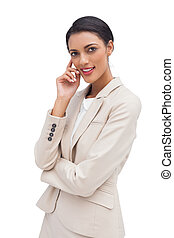 Pensive business woman standing
