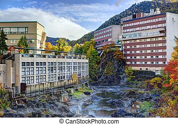 Hot Spring Resort Town in Hokkaido, Japan - Hot Springs...