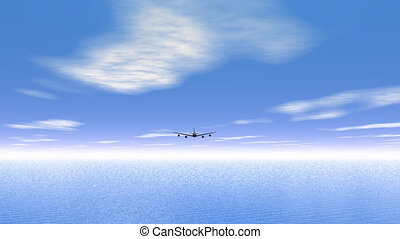 Flying plane upon the ocean - 3D re