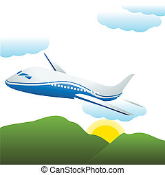 airplane and mountain view