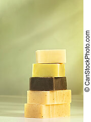 Natural soaps - Handmade natural soaps aranged in a pile