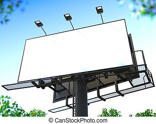 Blank Billboard - Blank Billboard on Blue Sky for Your...