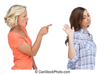 Two friends arguing on white background