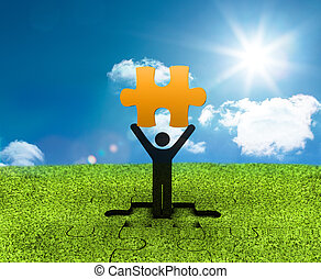 Black character holding a yellow piece of jigsaw with the...