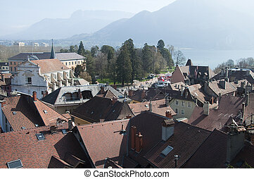 Panorama of Annecy city and lake - Large view of Annecy town...