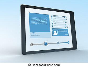Digital tablet showing social media profile on blue...