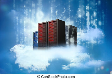 Data servers resting on clouds with falling matrix in blue...