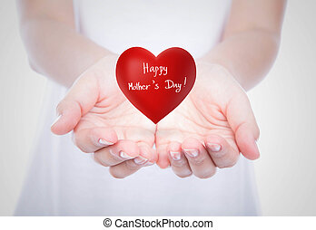 Heart of mothers day on woman hands over body