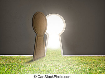 Doorway opening to bright light with grass in dark grey room