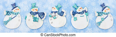 Merry Christmas Background - Snowmen with snowflakes on blue...