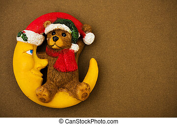 Christmas Night - Teddy bear sitting on moon wearing Santa...