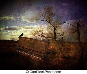 Music of the wind - Fantasy image with a crow sitting on an...