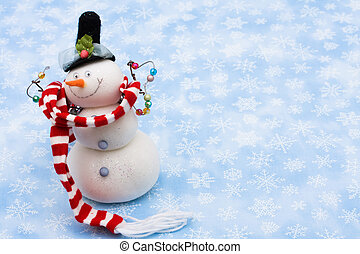 Merry Christmas - Snowman wearing scarf on blue snowflake...