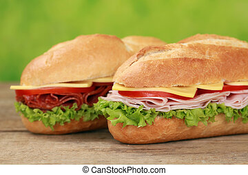 Sub Sandwiches with salami and ham - Sub Sandwiches with...