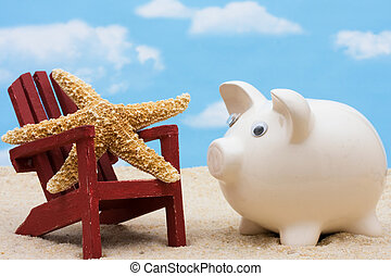 Saving for Vacation - Piggy bank sitting next to Adirondack...