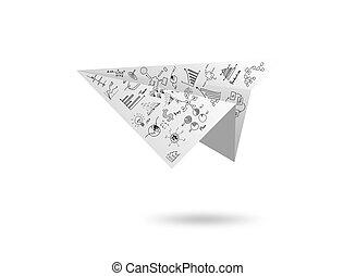gráfico, papel, avião, isolado, branca