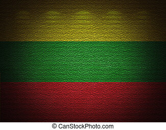 Lithuanian flag wall, abstract grunge background