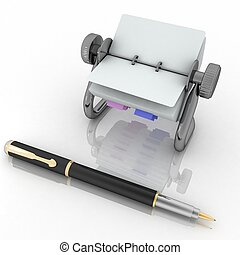 Rotary card address and pen. 3d render illustration isolated...