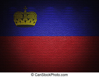 Liechtenstein flag wall, abstract grunge background