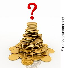 pile of gold chinks and question-mark