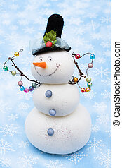 Merry Christmas - Snowman on blue snowflake background,...