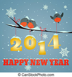 Birdies Happy new year 2014 - Little birdies on branch and...