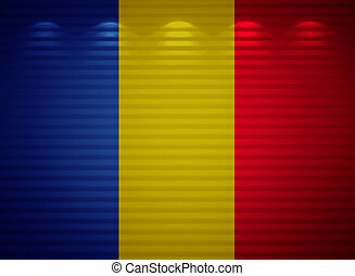 Romanian flag wall, abstract background