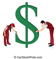 Two cleaners wiping the US Dollar s