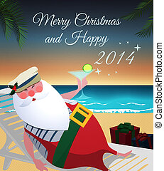 Santa relaxing on tropic beach with martini,gifts and Merry...