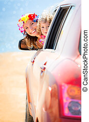 Summer car trip - Happy family car trip on summer vacation...