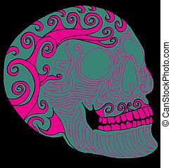tattoo tribal mexican skull vector art