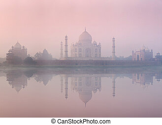 Taj Mahal on sunrise sunset, Agra, India - Taj Mahal on...