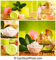 Spa collage made of five images Floral water, bath salt,...