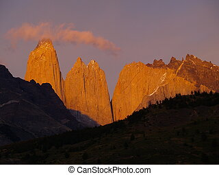 Shining Torres del Paine - The Torres are famous rock...