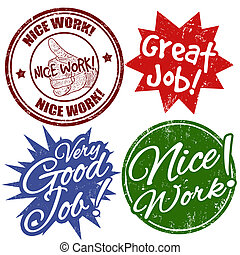 Work award stamps - Set of grunge office rubber stamps with...