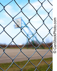 Metal mesh with blur basketball court background - Metal...