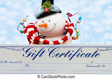 Merry Christmas - Snowman with gift certificate on blue...