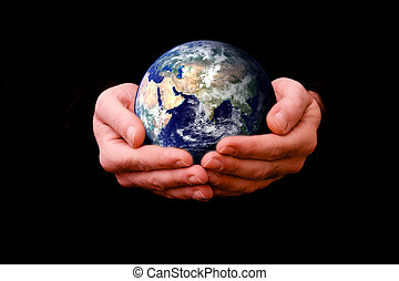 helping the world - composite image of man holding the...
