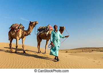 Rajasthan travel background - Indian cameleer (camel driver)...